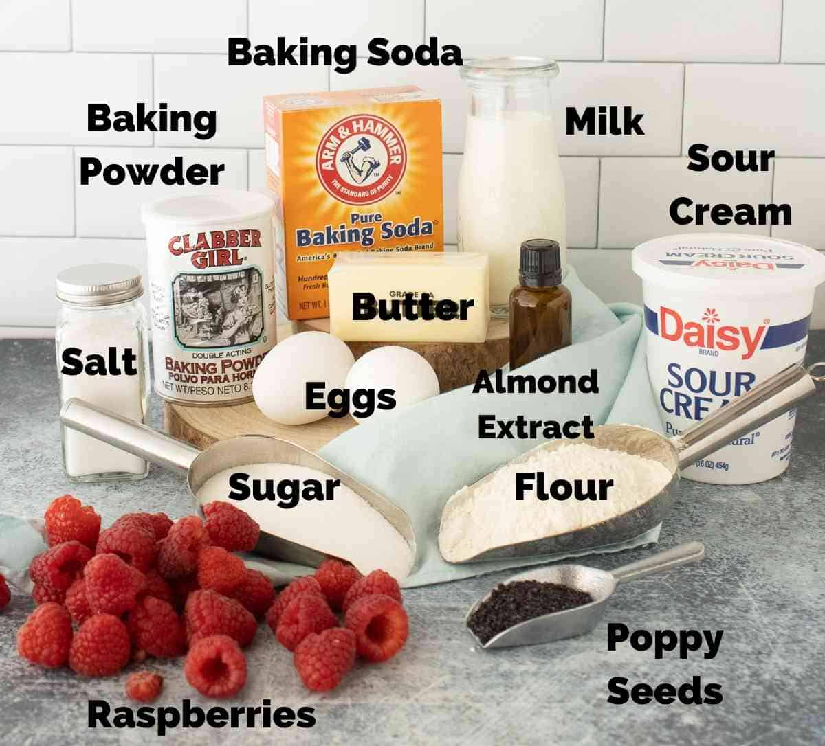 Ingredient Notes for raspberry poppy seed muffins.