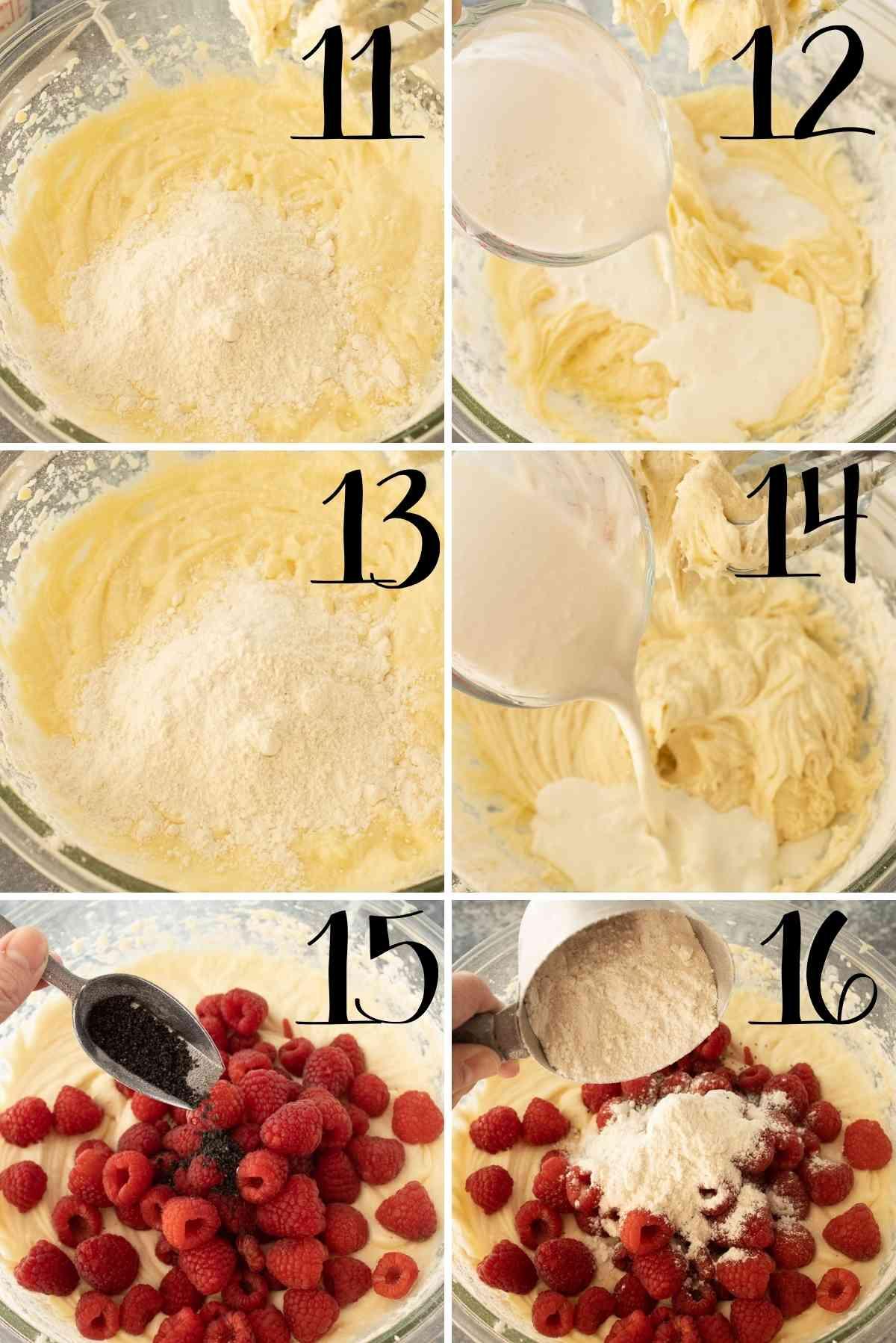 Milk/sour cream added alternately with flour.