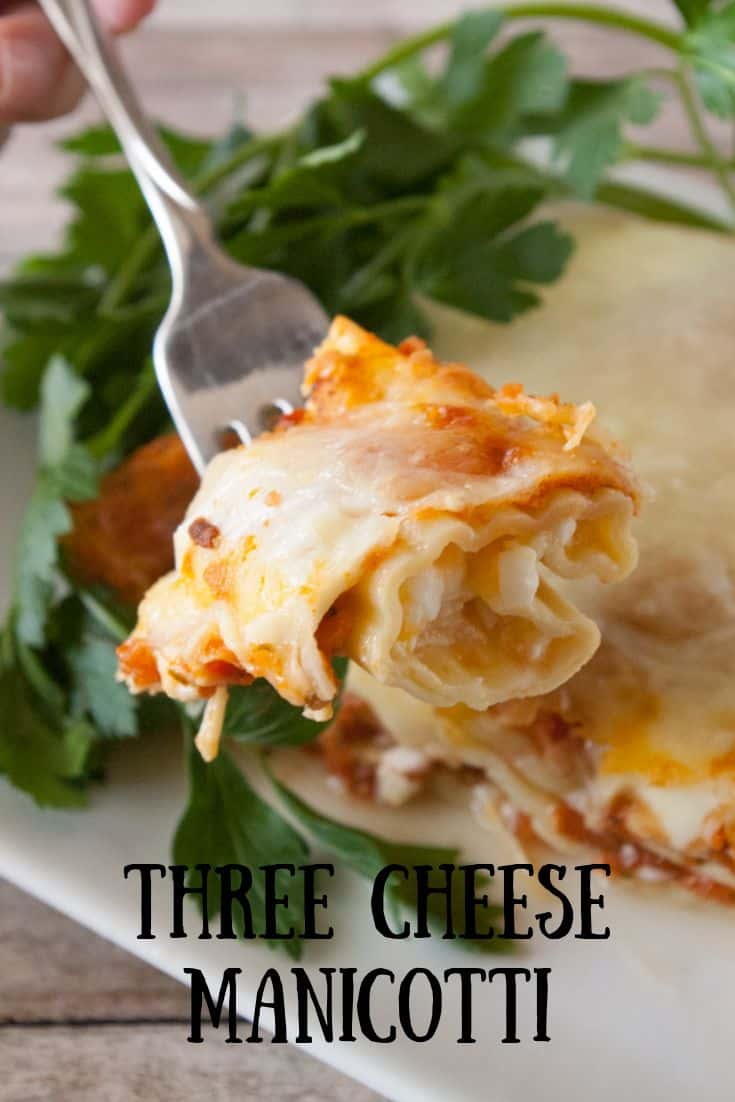 Pinnable image 3 for 3 cheese manicotti.
