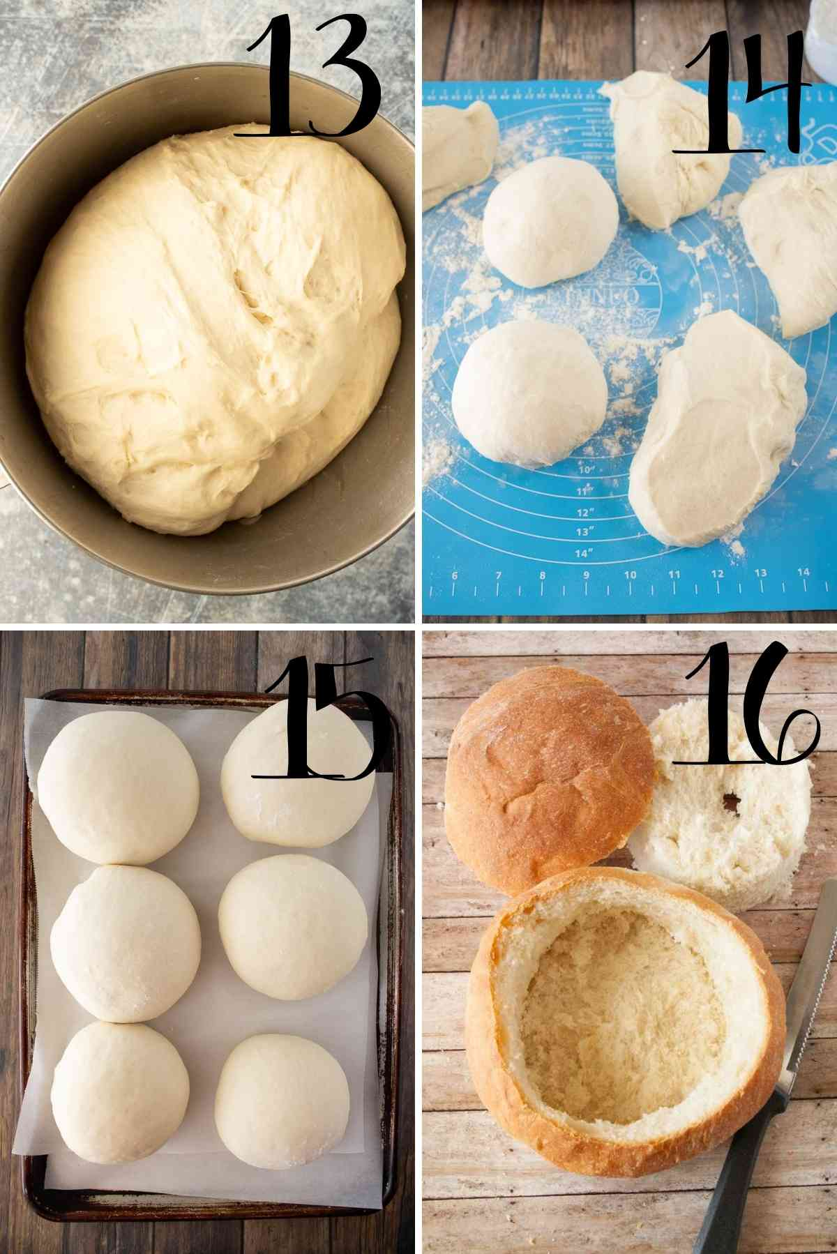 Dough dumped out, divided up, shaped into balls, baked and cut to hold soup.