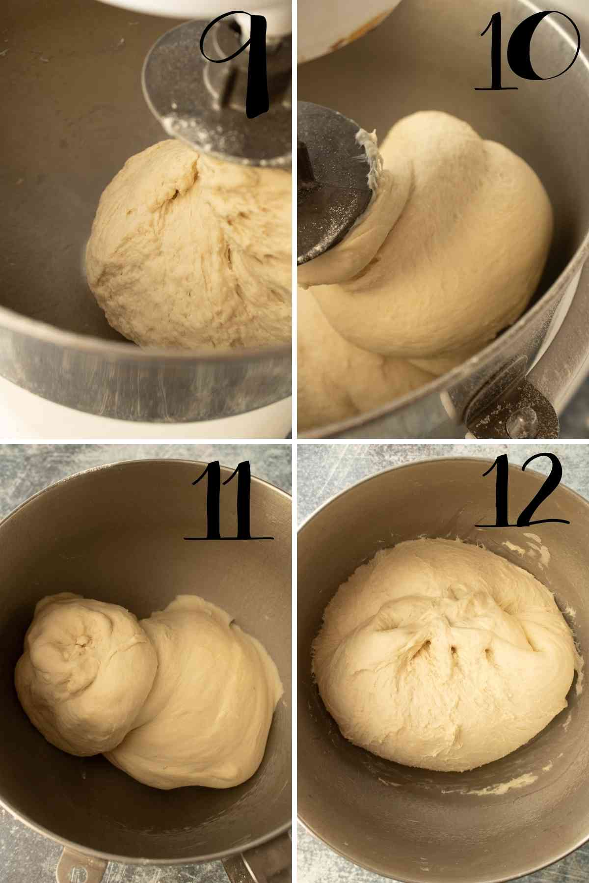 Dough when first being kneaded to what it looks like after kneading.