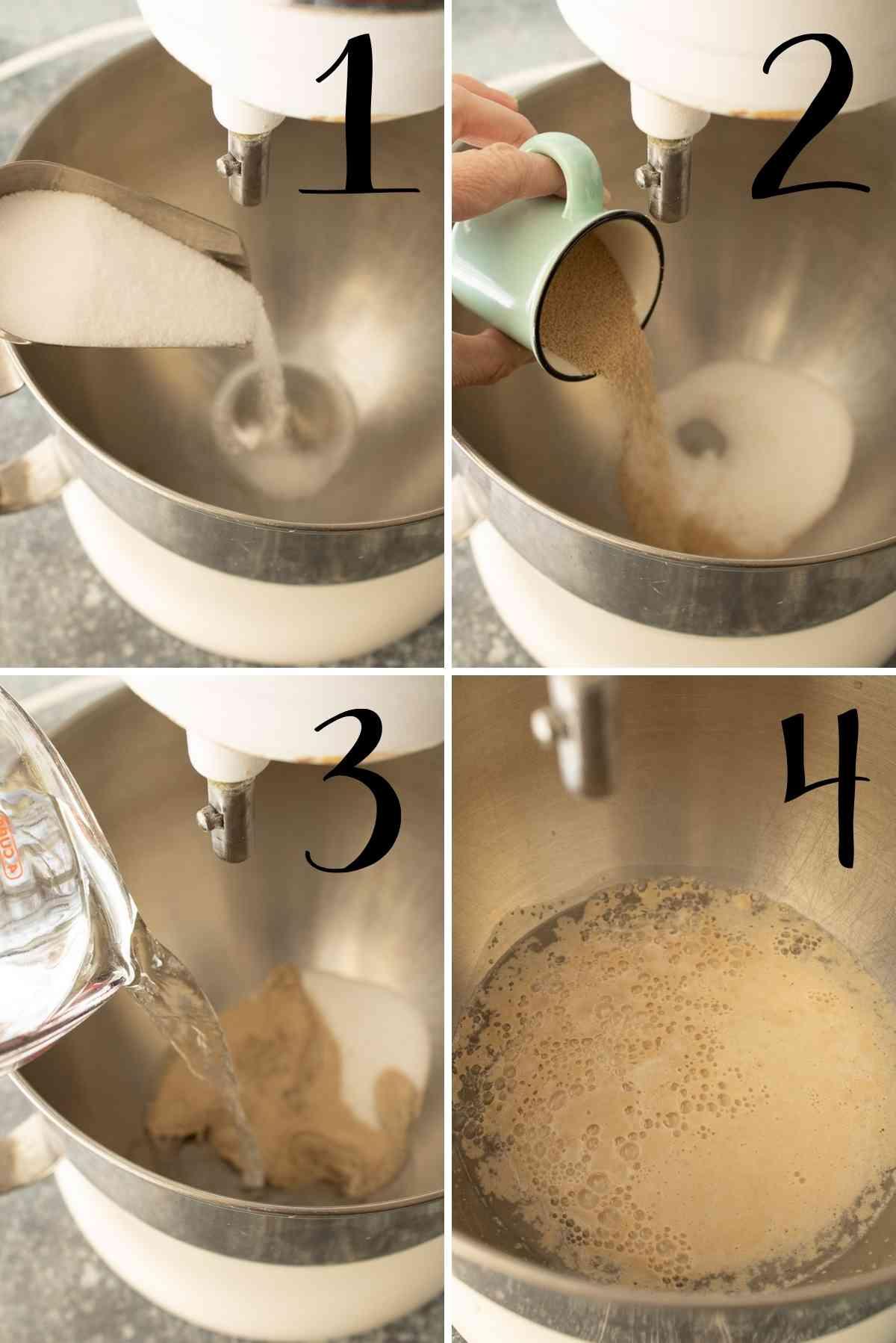 Sugar, yeast and warm water getting foamy.