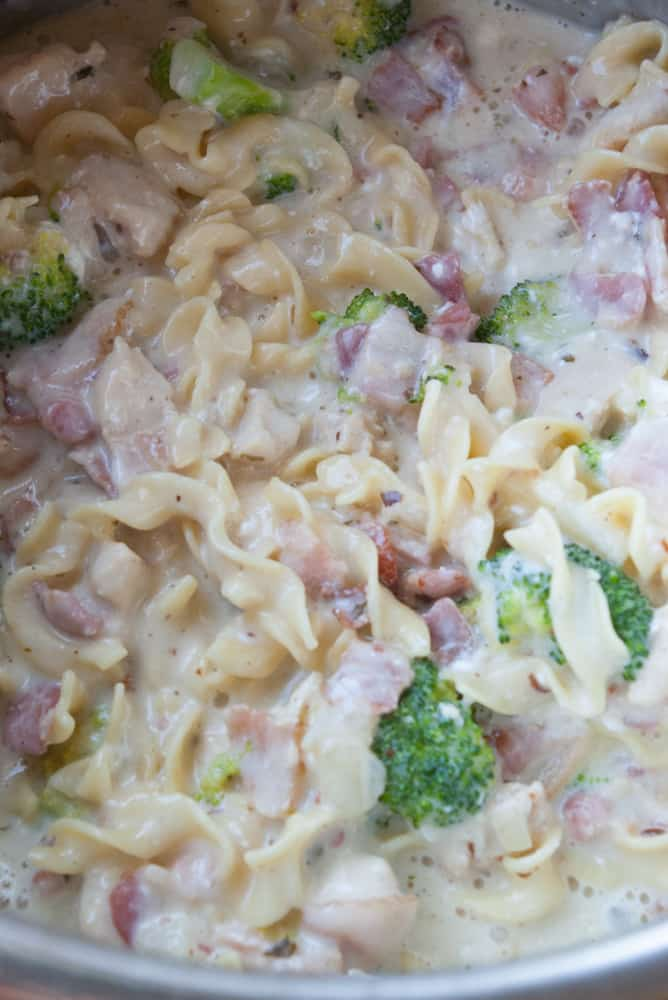 Instant Pot Broccoli Chicken Pasta finished cooking and ready to serve.