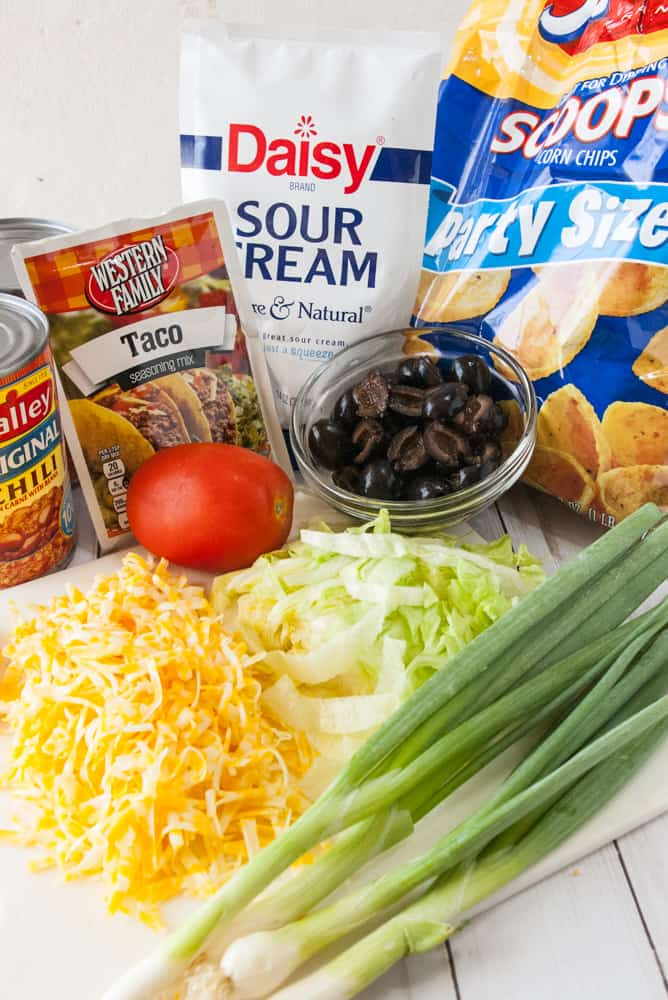Ingredients for hot taco chili dip.