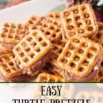 Easy Turtle Pretzels pinnable image.