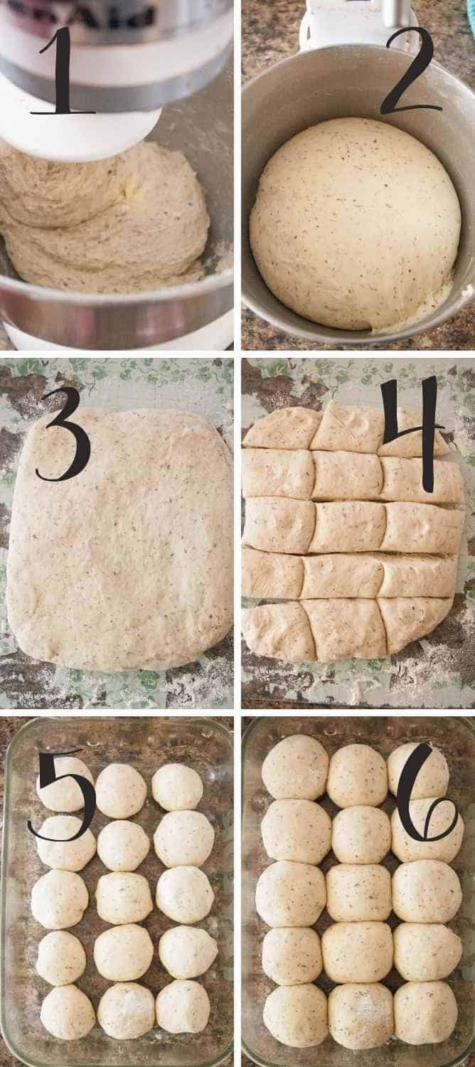 Collage of steps for these dinner rolls.