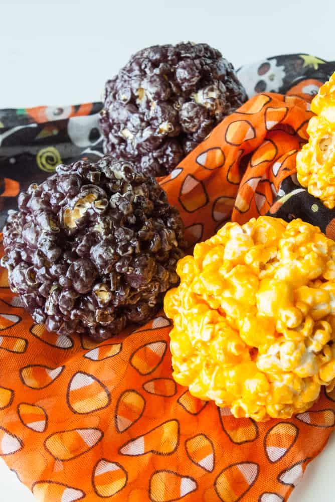 Black and orange popcorn balls.