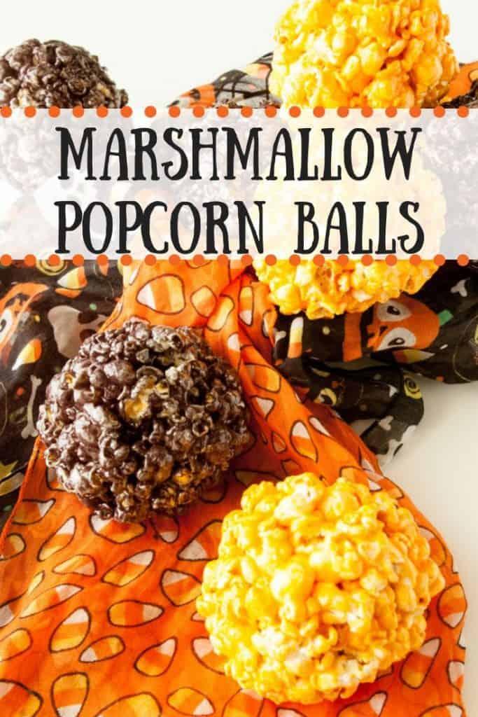 Marshmallow Popcorn Balls pinnable image.