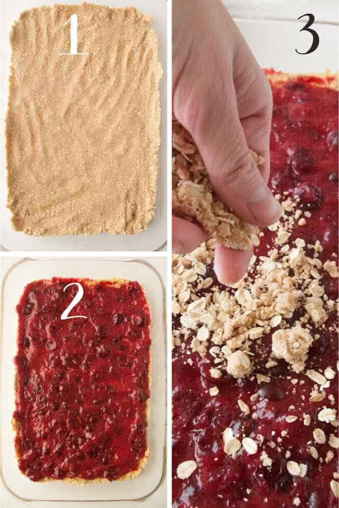Steps collage for cranberry crumble bars.