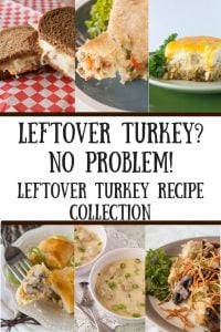 Leftover Turkey Recipe Collection pinnable image.