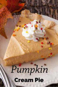 Pinnable image 1 for pumpkin cream pie.