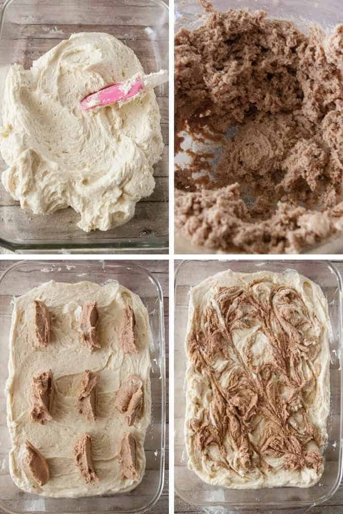 Collage of steps to make snickerdoodle coffee cake.