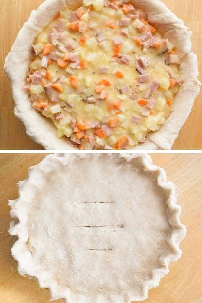 Ham and cheese filling added to a pie shell.