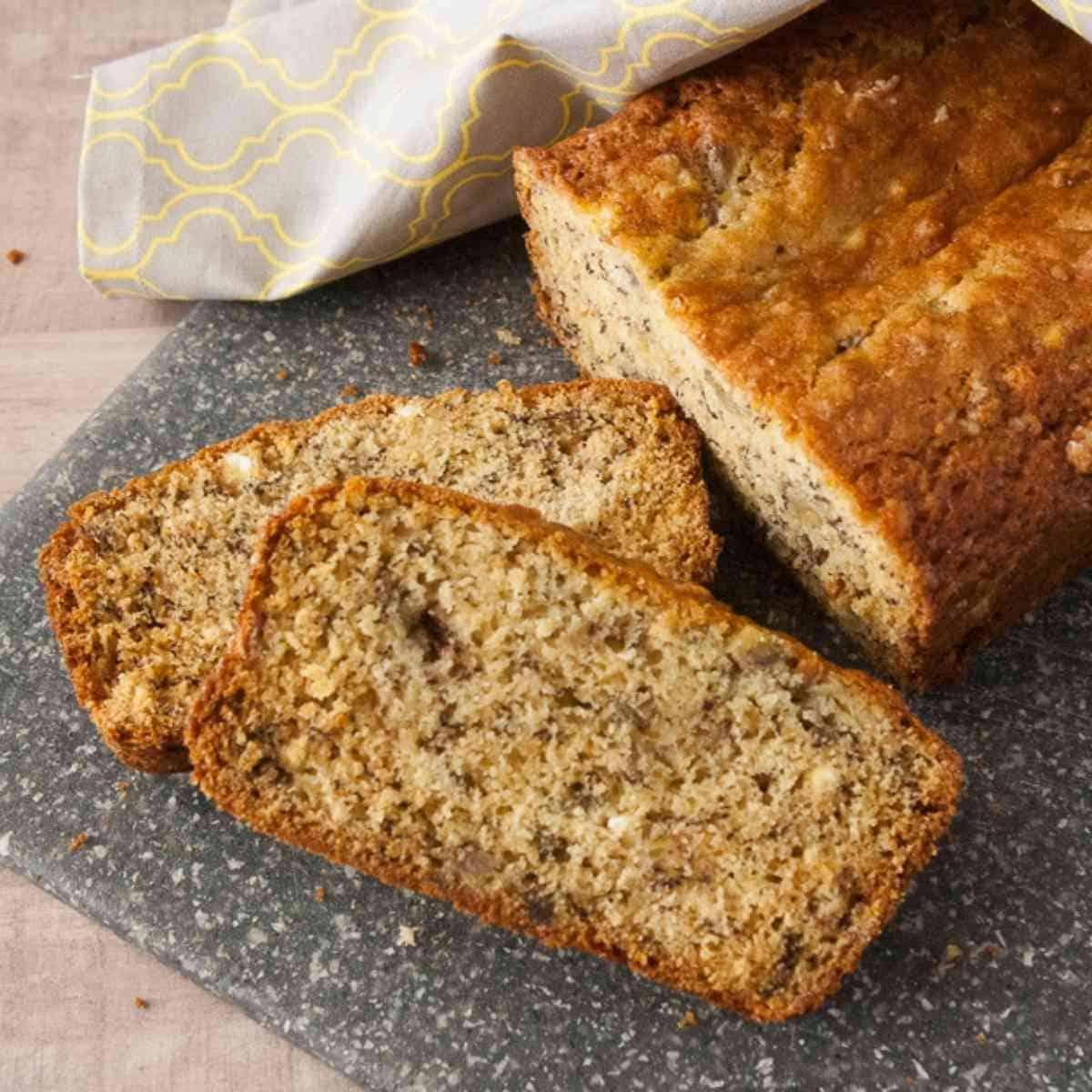 Sliced loaf of banana bread.