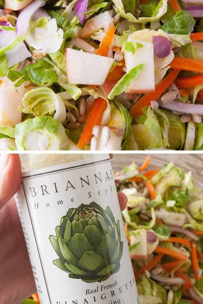 Collage of steps for brussel sprout slaw