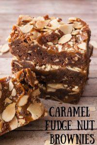Caramel Fudge Nut Brownie pinnable image.