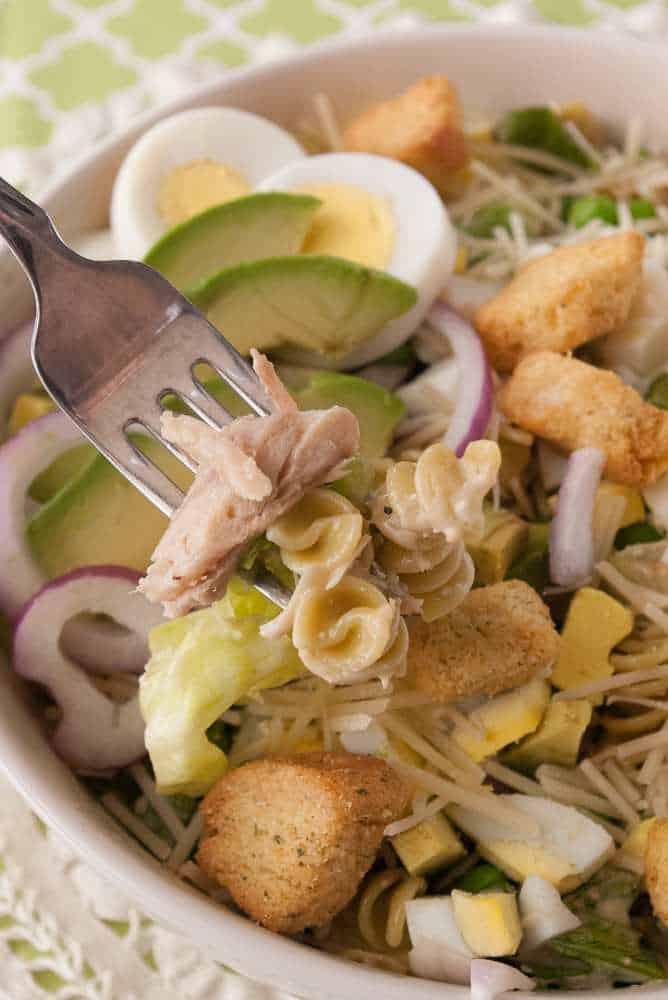 Chicken Pasta Caesar Salad in a low bowl.