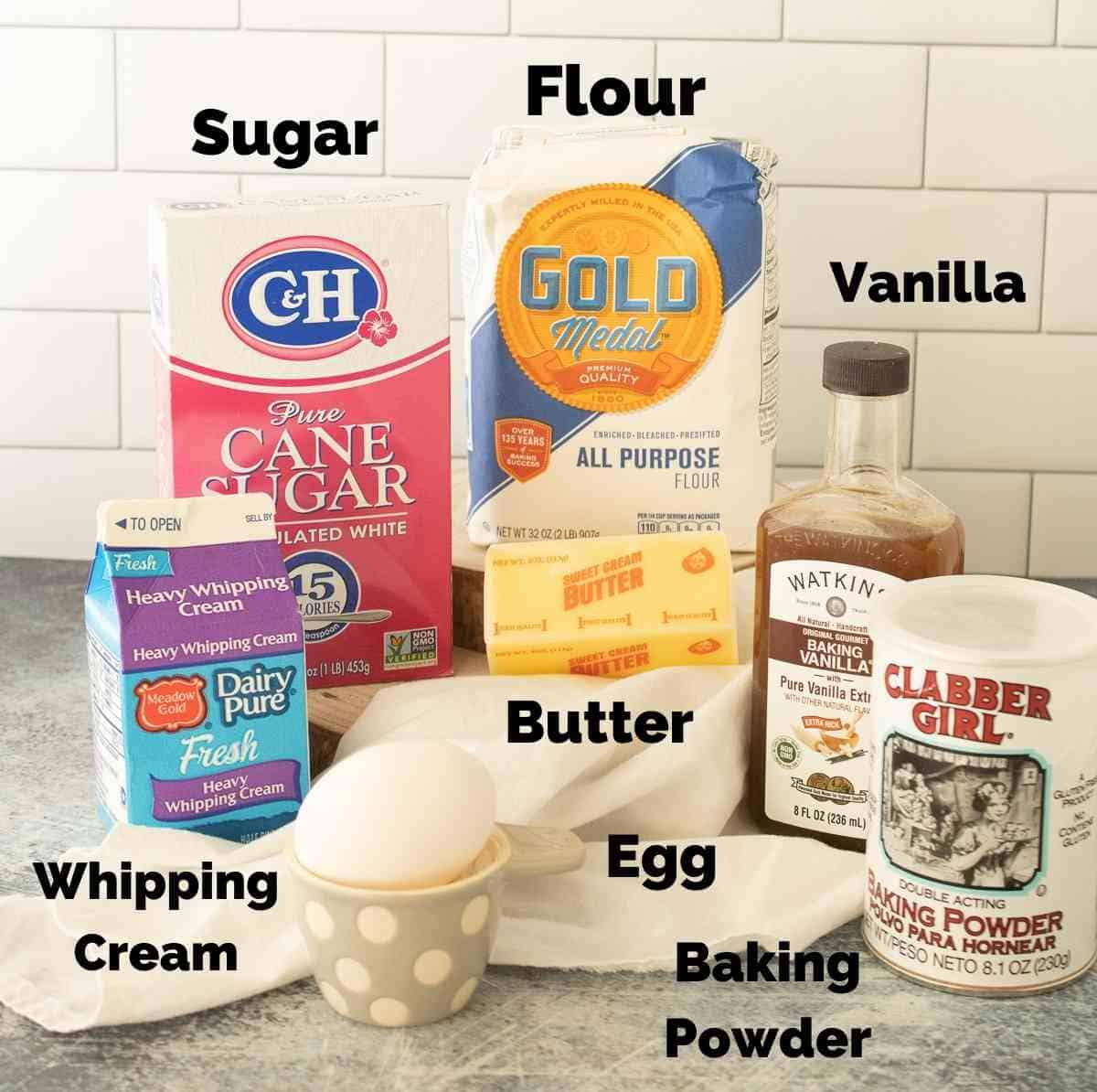 Ingredients for baked scones.