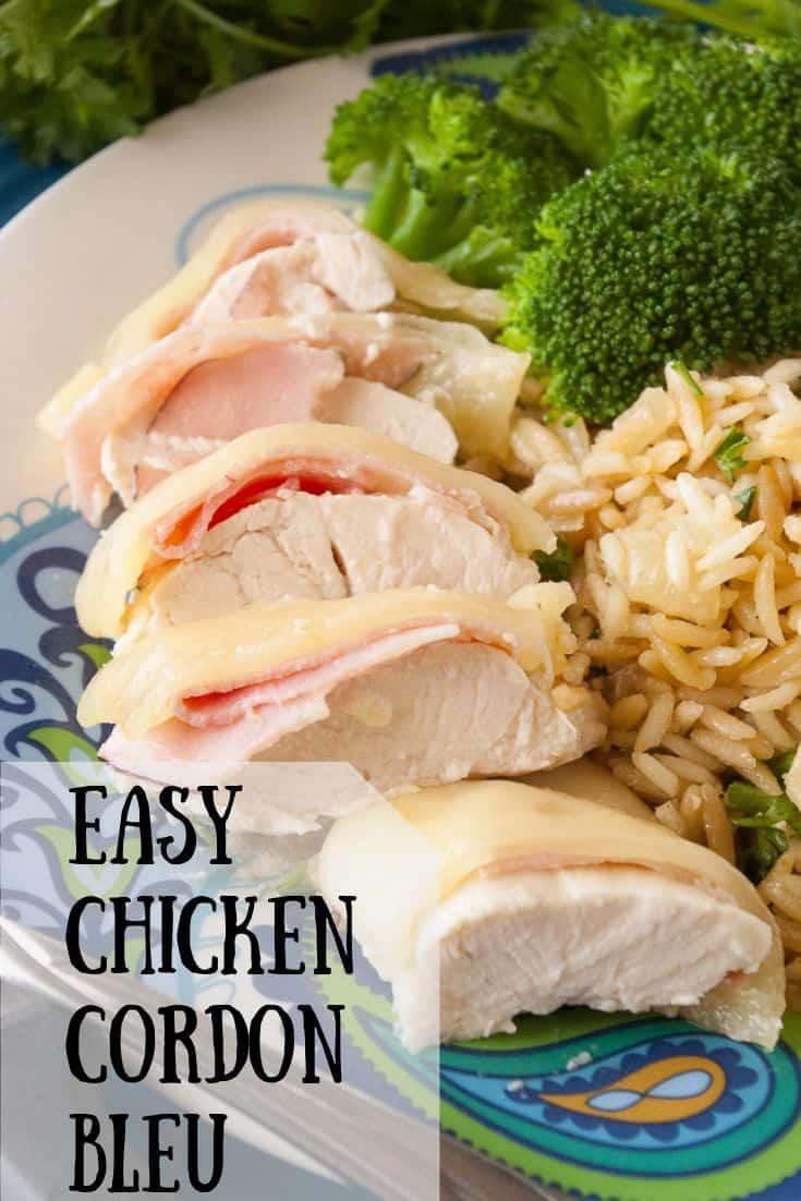 Pinnable image 1 for easy chicken cordon bleu.