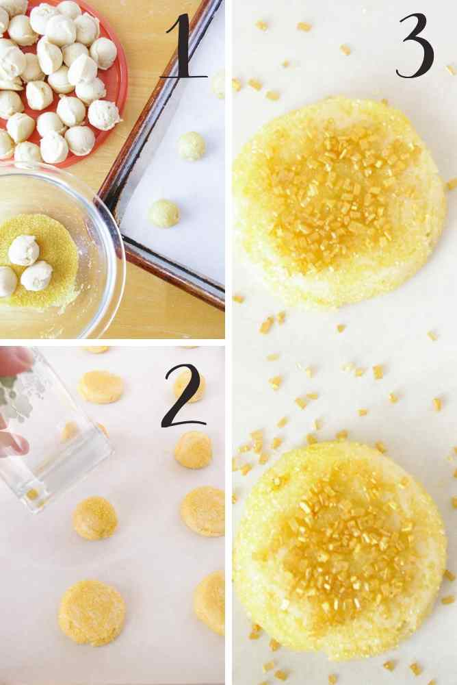 Collage of the steps for making these gold coin butter cookies.