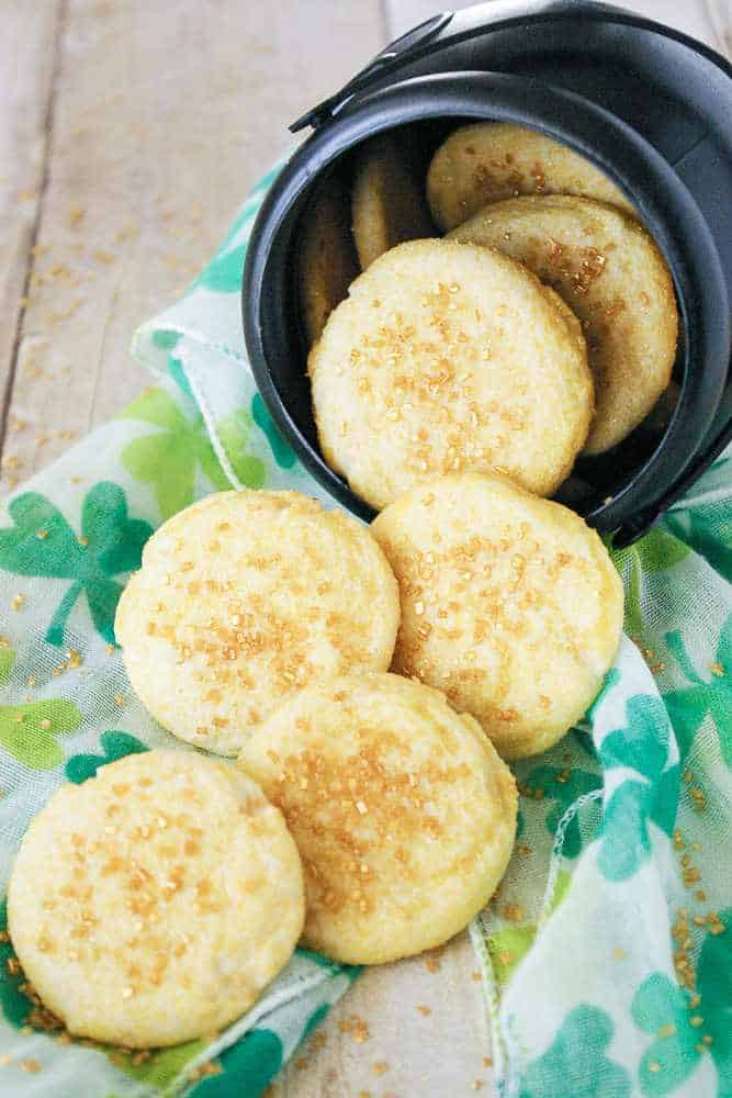 A cauldron of gold coin butter cookies.
