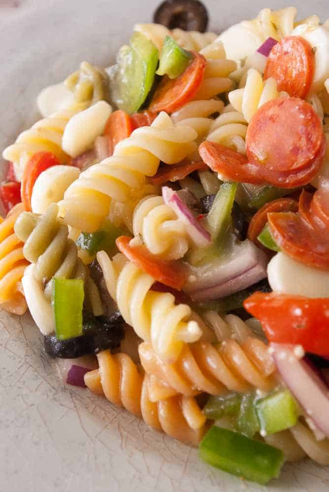 A plate of pasta salad