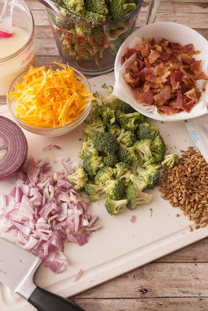 Ingredients for tangy broccoli salad.