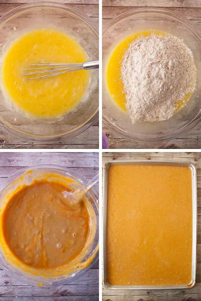 Collage of steps for carrot sheet cake.