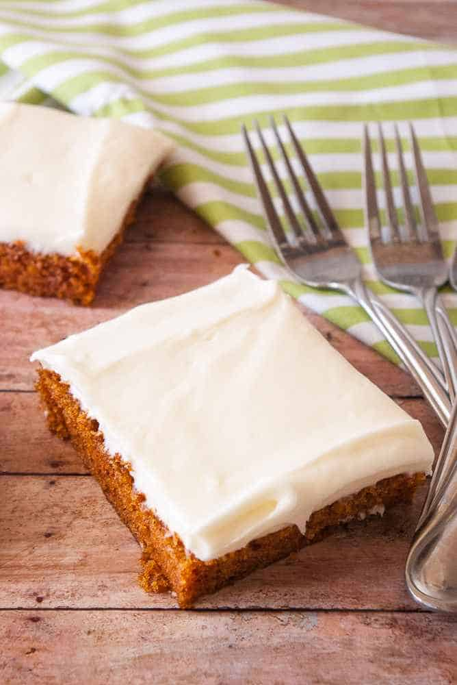 A square of carrot sheet cake.