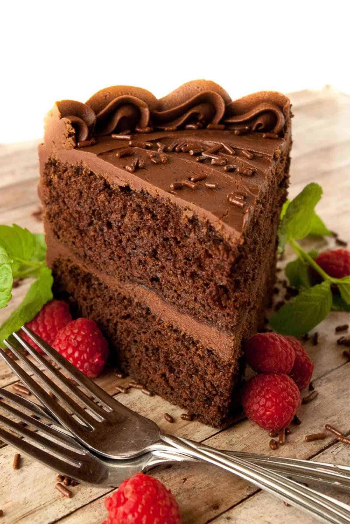 A big slice of chocolate cake garnished with mint and fresh raspberries.