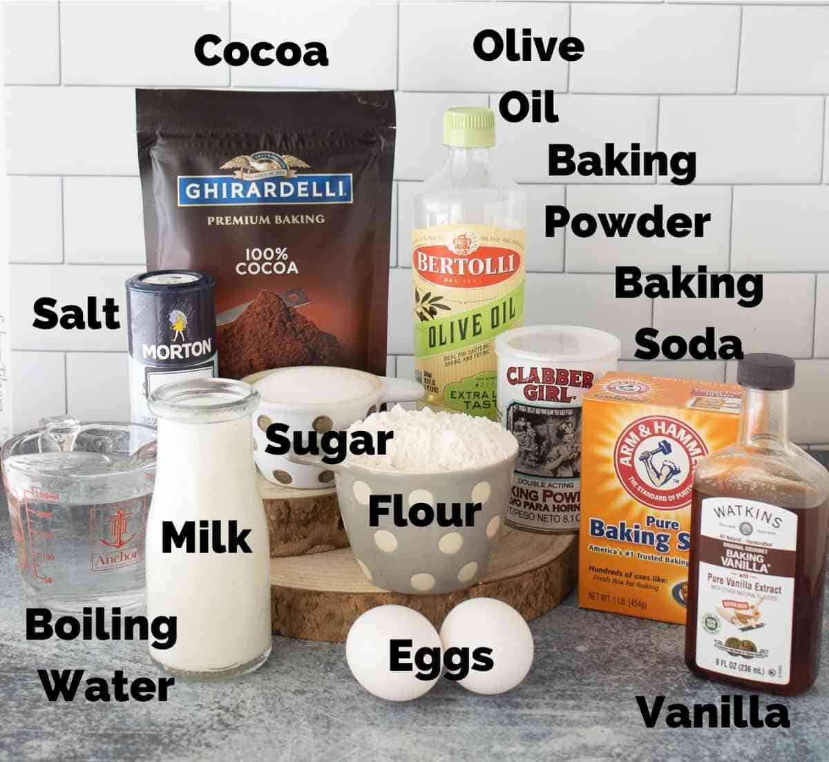 Ingredients for chocolate cake.
