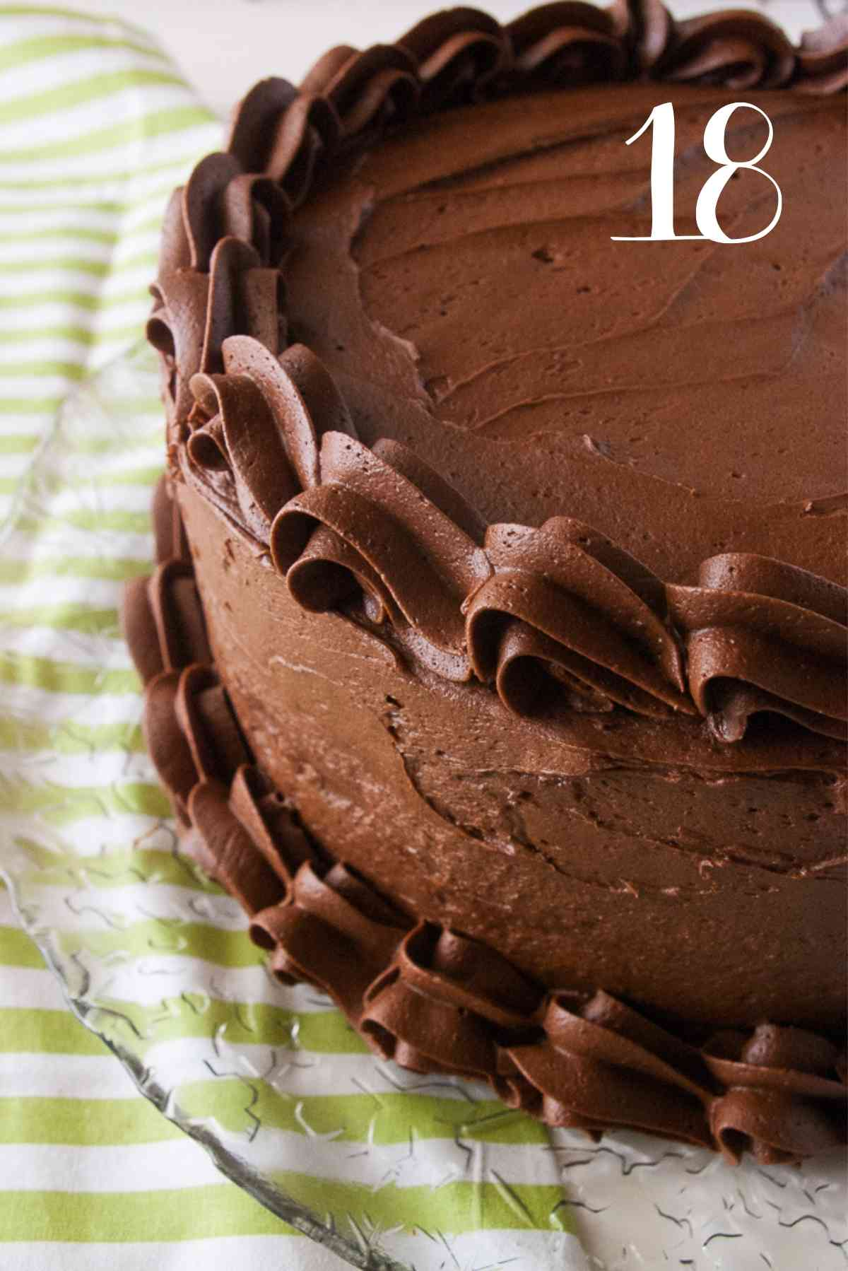 Cake frosted with chocolate frosting.