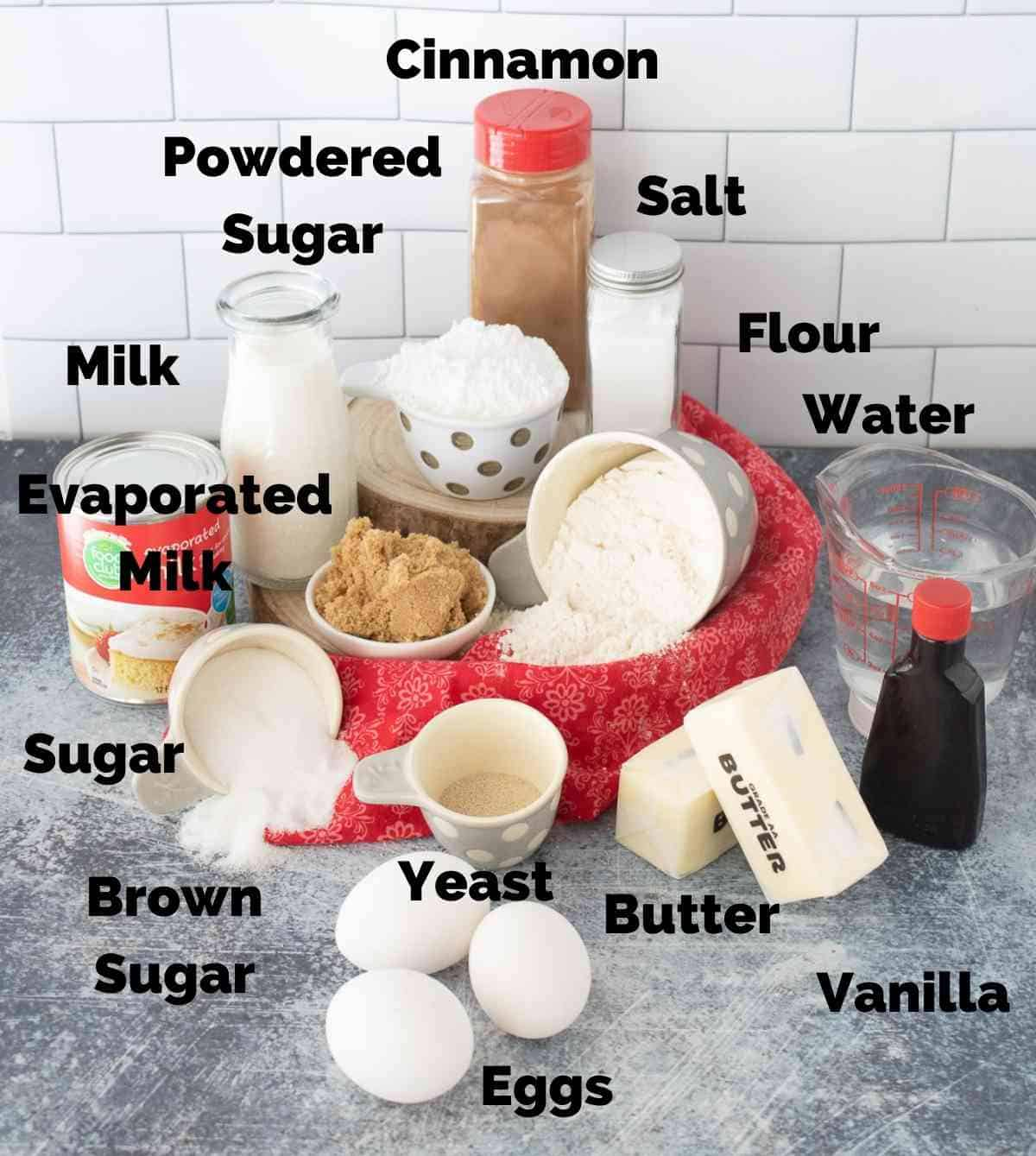 Ingredients to make both the bread and the syrup.