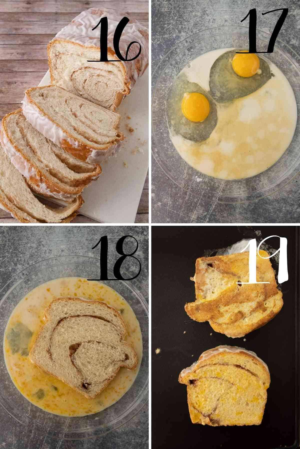 Slice the cinnamon bread into thick slices.  Dip in eggy milk and cook on a hot griddle.