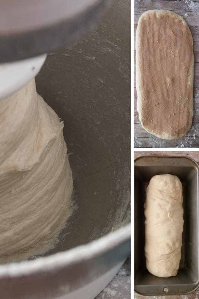 Collage of bread steps for cinnamon swirl bread.