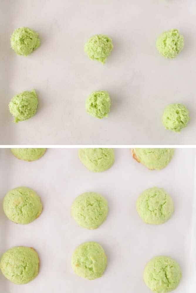 A pan of unbaked lime cookies and a pan of baked ones.