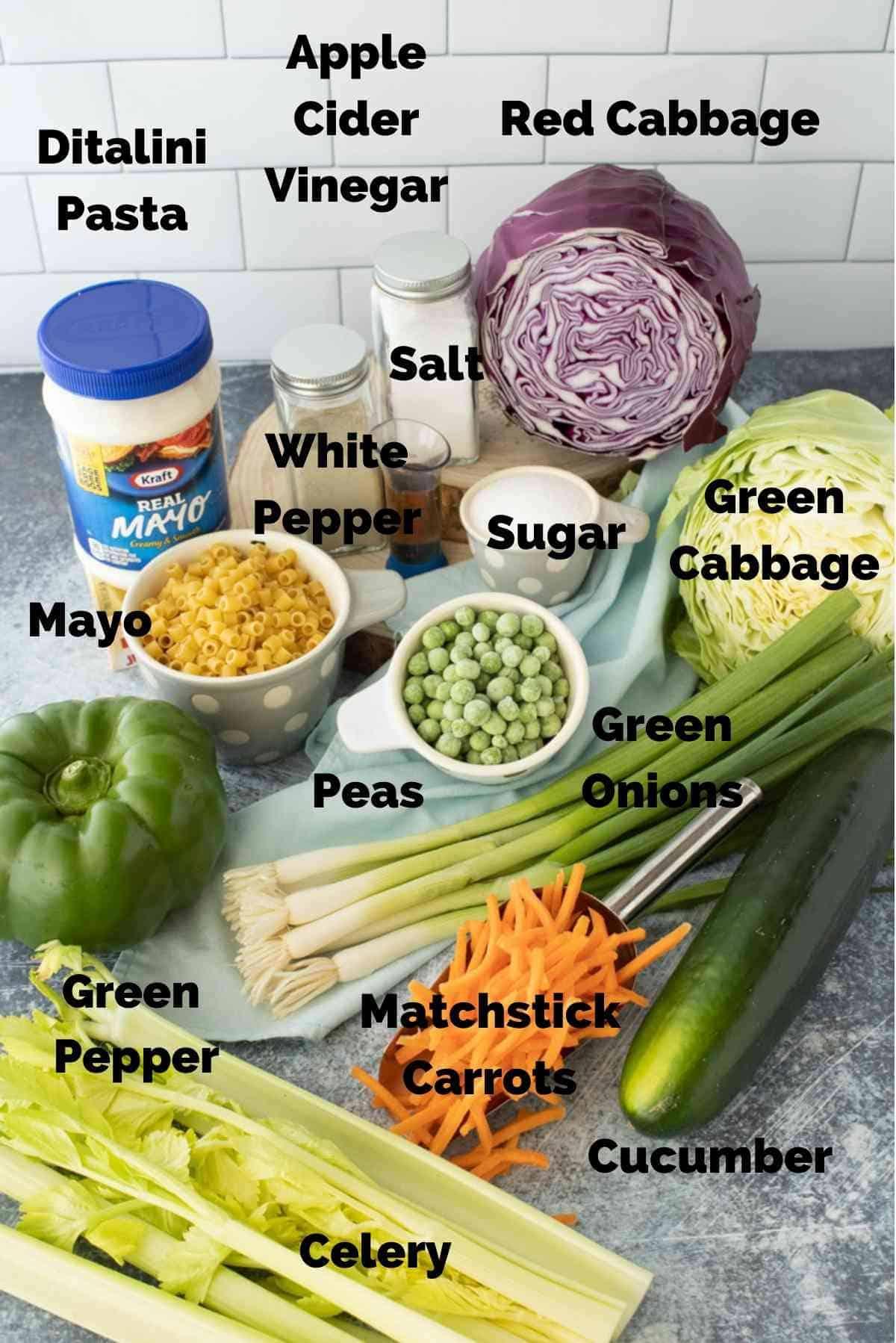 Ingredients for macaroni coleslaw.