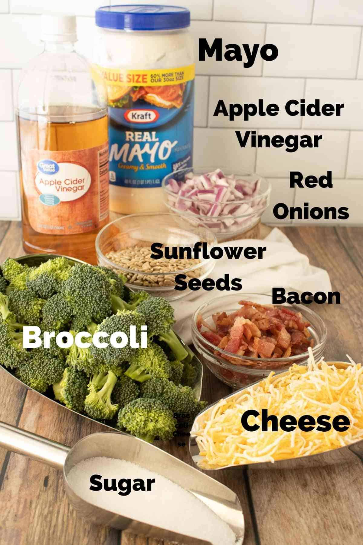 Ingredients for this broccoli salad
