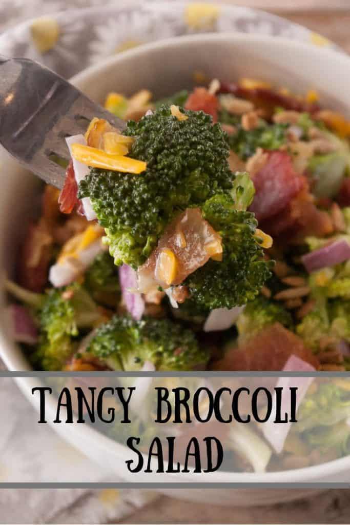 Tangy Broccoli Salad pinnable image 1.