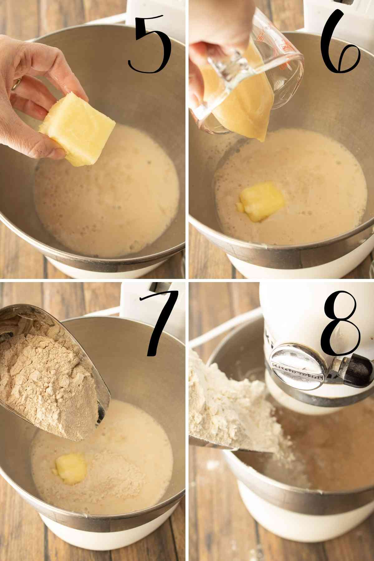 Butter, honey and flour added to the mixing bowl.