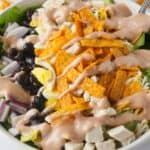 A southern bbq chicken salad with barbecue ranch dressing.