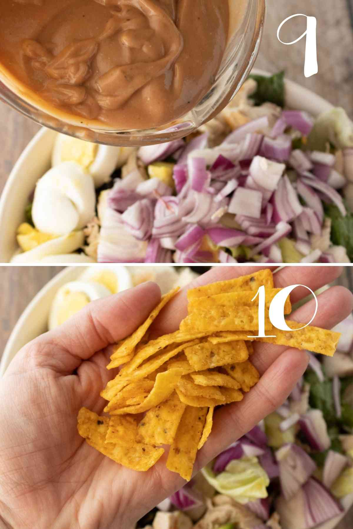 Add the barbecue ranch to the salad and top with crunchy tortilla strips.