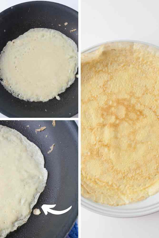 A collage showing how to make crepes in a frying pan.