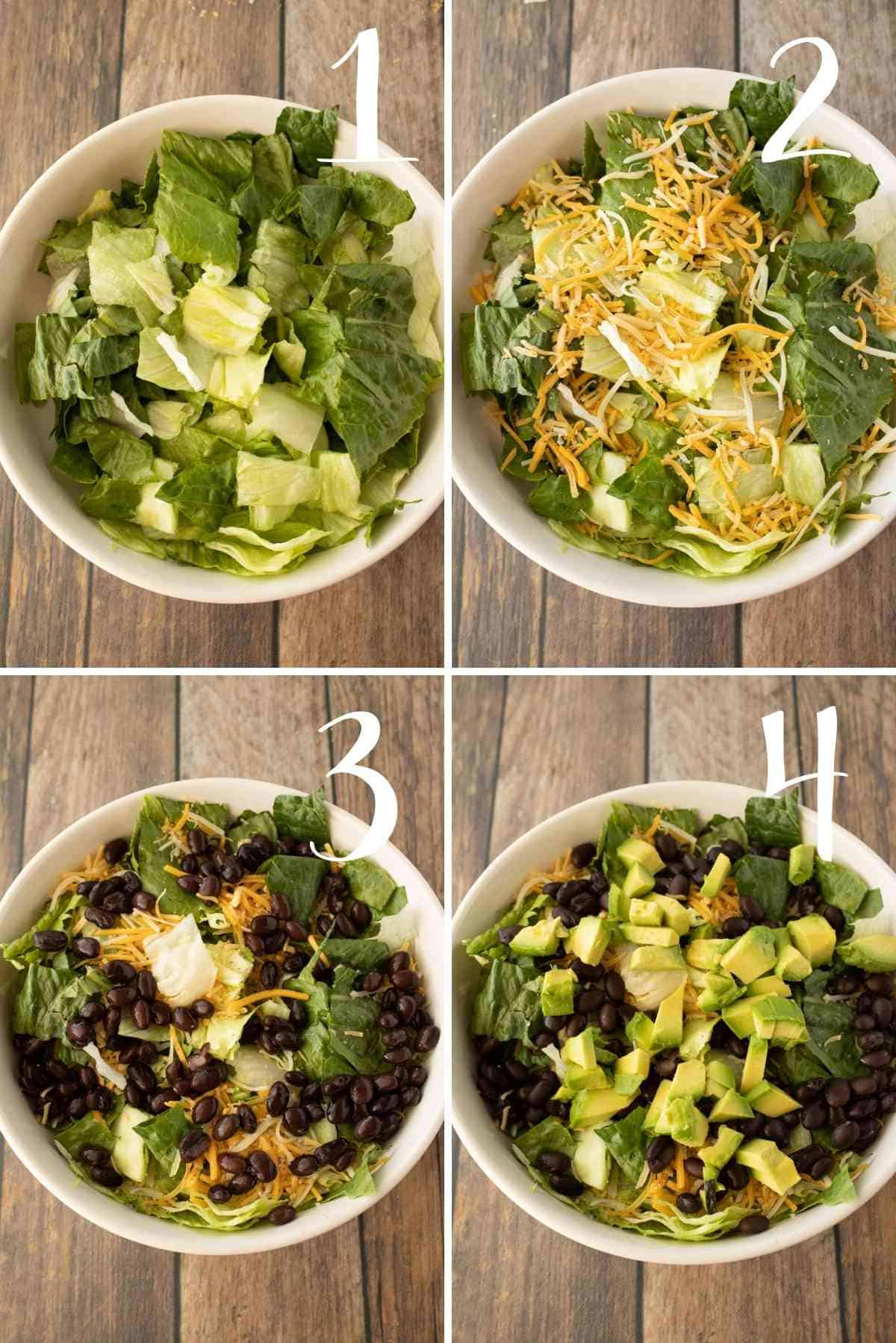 Iceberg and romaine lettuces topped with shredded cheese, black beans and avocado chunks.