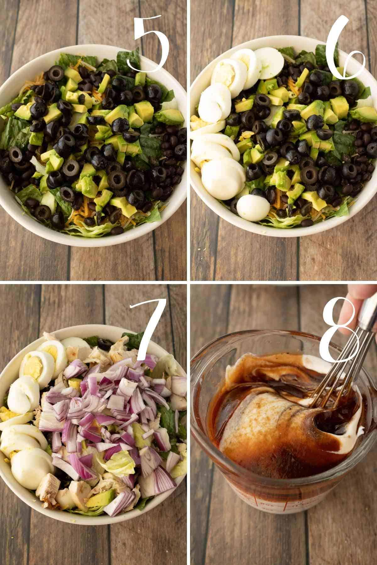 Sliced olives, sliced hard boiled eggs, and chopped red onions add to the lettuces.