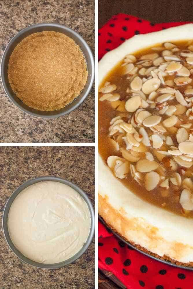 Collage of steps for almond praline cheesecake