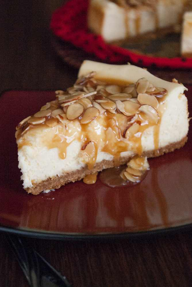 A slice of almond praline cheesecake.