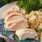 Sliced up chicken cordon bleu.