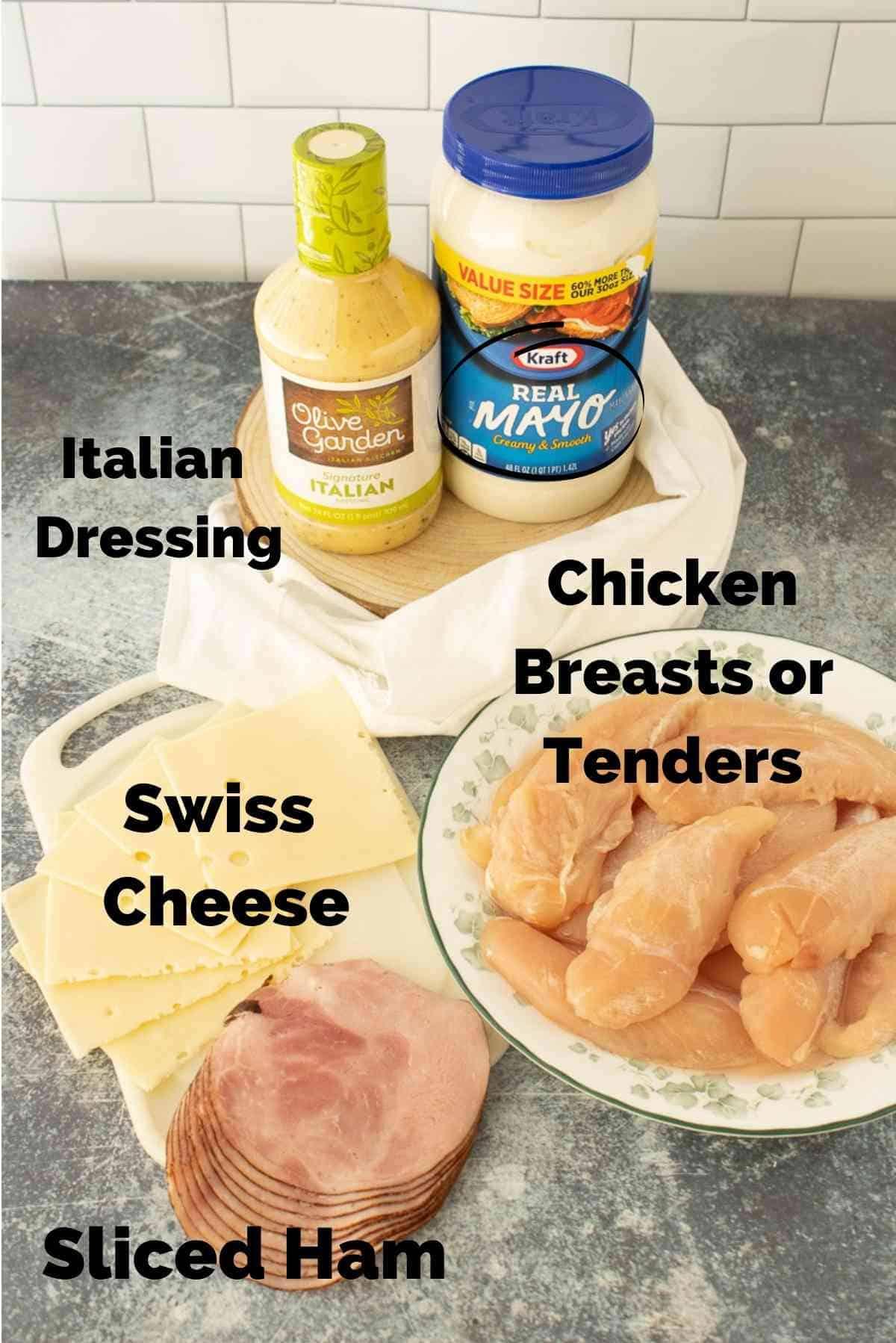 Ingredients for easy chicken cordon bleu.