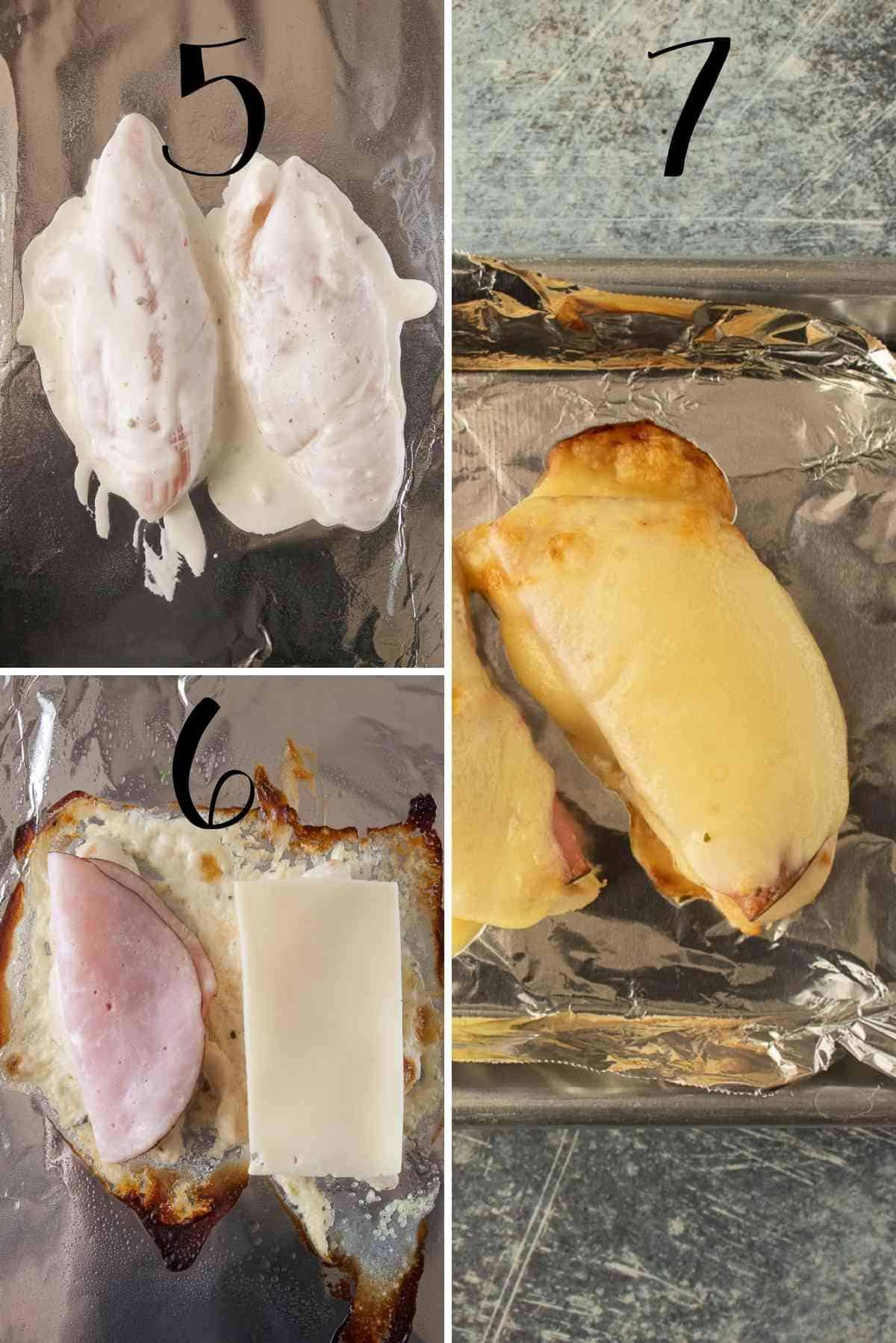 Marinated chicken laid out on baking sheet, baked, topped with ham and cheese, then broiled.